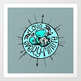 Skribbles: Love every minute (blue) Art Print