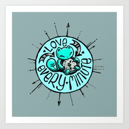 Skribbles: Love every minute (blue) Art Print