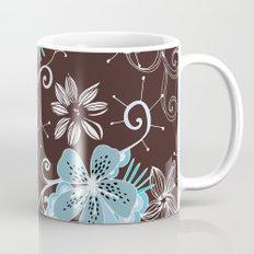 Summer blossom, brown and blue pattern Mug