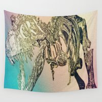 t rex Wall Tapestries featuring T-REX  by T.E.Perry