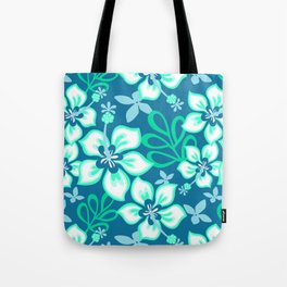 Aqua and White Hawaiian Hibiscus Flower Bloom Pattern on Blue Tote Bag