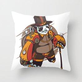 steampunk panda  Throw Pillow