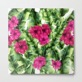 green banana palm leaves and pink flowers Metal Print