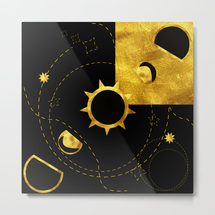 Solar Eclipse black gold Metal Print