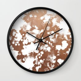 Rose Gold shiny metal sparkle modern pattern abstract rosegold trendy pattern cell phone accessories Wall Clock