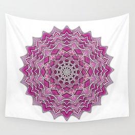 12-Fold Mandala Flower in Pink Wall Tapestry