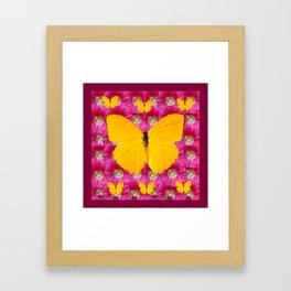 GOLDEN BUTTERFLIES ON FUCHSIA PINK Framed Art Print