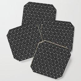 Hand Drawn Hypercube Black Coaster