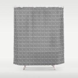 Large Black and White Greek Key Interlocking Repeating Square Pattern Shower Curtain