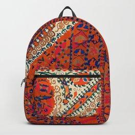 Orange Wildflower Sunshine III // 18th Century Colorful Rusty Red Bright Blue Metallic Happy Pattern Backpack