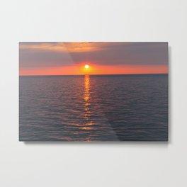 Golden Sun Across Shimmering Water Metal Print