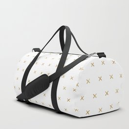 White and Gold cross sign pattern Duffle Bag