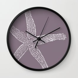 Starfish- white on plum Wall Clock