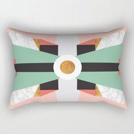 Mid Century Modern Geometric Abstract Retro 70s Pink Green Gold Black Rectangular Pillow
