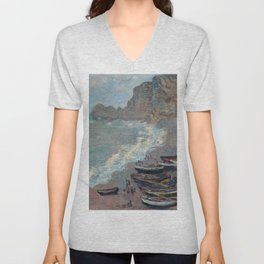 Boats on the Beach at Etretat by Claude Monet Unisex V-Neck