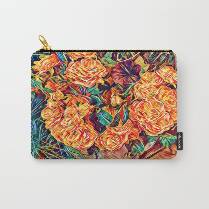 Red Orange Valentine Flowers Carry-All Pouch