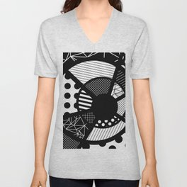 Twisted Web - Black And White, Patterned, Abstract Art Unisex V-Neck