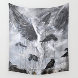 Fly Raven - fly Wall Tapestry