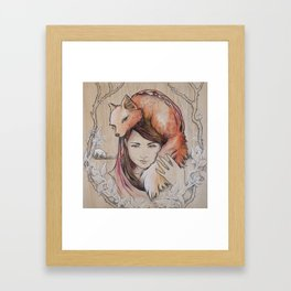 Safe in My Red Riding Hood, Balsa Framed Art Print
