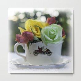 Tea Cup - Tea with Roses Metal Print