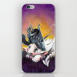 Sunset friends, Unicorn and Dragon iPhone Skin