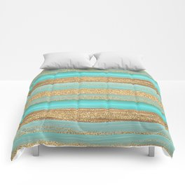 Turquoise Brown Faux Gold Glitter Stripes Pattern Comforters