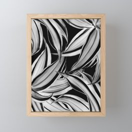 Dracaena Tropical Leaves Pattern Black & White #1 #tropical #decor #art #society6 Framed Mini Art Print