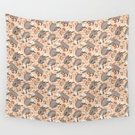 Opossum and Roses Wall Tapestry