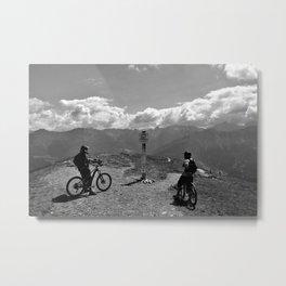 mountain bike frommes trail alps serfaus fiss ladis tyrol austria europe black white Metal Print