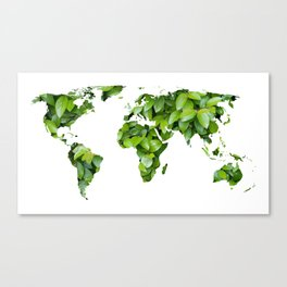 Green Map Of The World Canvas Print