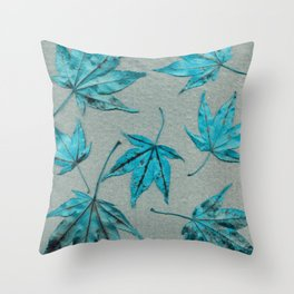 Japanese maple leaves - turquoise on silver gray paper Throw Pillow