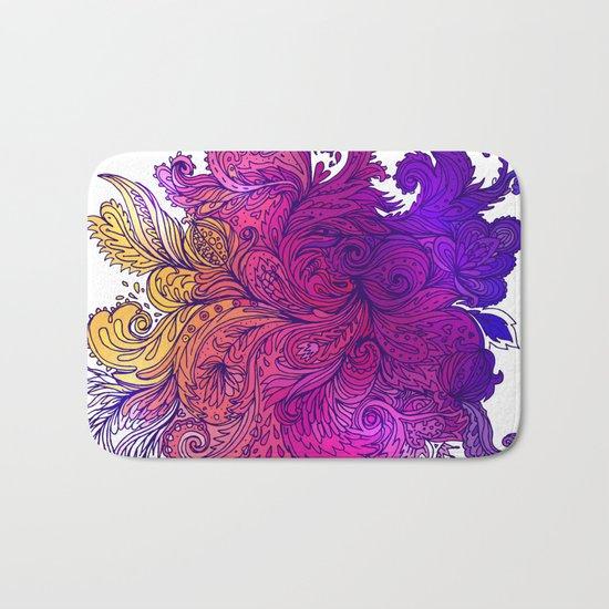 Purple Floral Indian Pattern Bath Mat