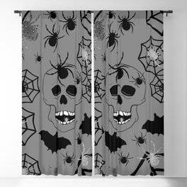 Skull On Grey Blackout Curtain