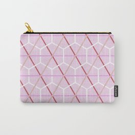 Pink Honeycomb Check Pattern Carry-All Pouch