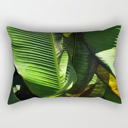 Palm Leaves in Sunlight and Shadow Close-up Photo Rectangular Pillow