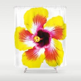Hibiscus in Yellow Shower Curtain
