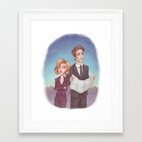 mulder Framed Art Prints featuring Mulder & Scully by Kaz Palladino & Awkward Affections