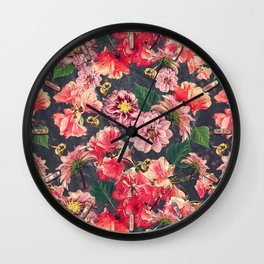 Vintage Flowers and Bees Wall Clock
