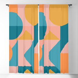 Colorful Geometric Abstraction in Blue and Orange Blackout Curtain