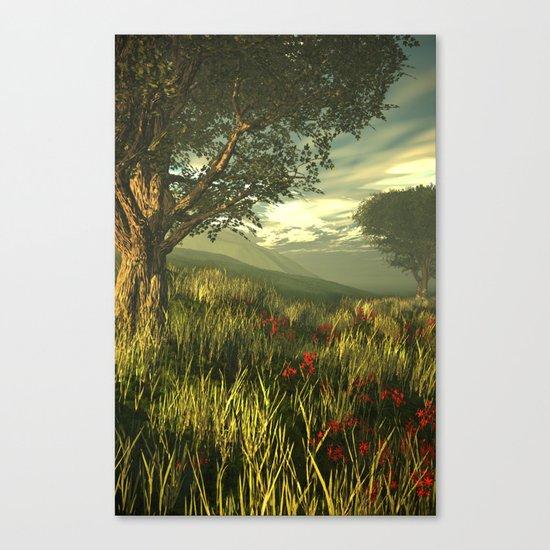 Summer tree in a poppy field Canvas Print