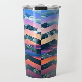 Sunsetting Mountains -Wide Chevrons Travel Mug
