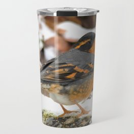 Male Varied Thrush Amid the Snow and Seed Travel Mug