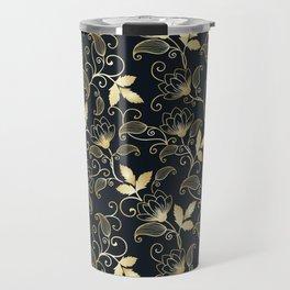 Golden Floral on Black Background Travel Mug