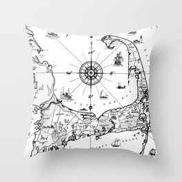 Vintage Map of Cape Cod BW Throw Pillow