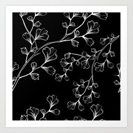 White Outline Leaves Branches Pattern  Art Print
