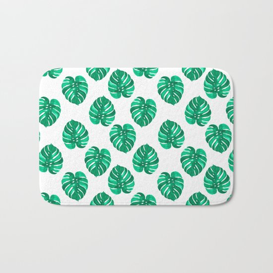 Monstera house plant leaf green painting pattern trendy hipster indoor house plant tropical garden   Bath Mat