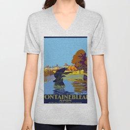 Vintage poster - Fontainebleau Unisex V-Neck