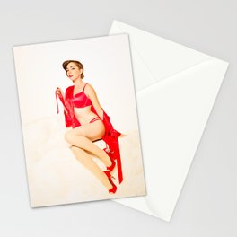 """Red Satin"" - The Playful Pinup - Red Lingerie Pin-up Girl by Maxwell H. Johnson Stationery Cards"