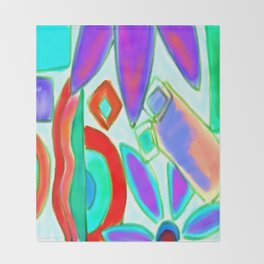 Summer Abstract Digital Painting Throw Blanket