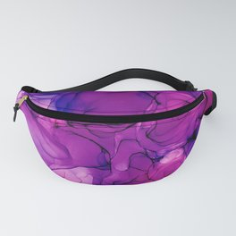 Pink and Purple Floral: Original Abstract Alcohol Ink Painting Fanny Pack